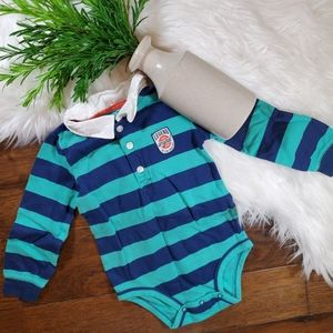 🌿5/$25 Carter's Blue/Green Stripe Bodysuit | 24m
